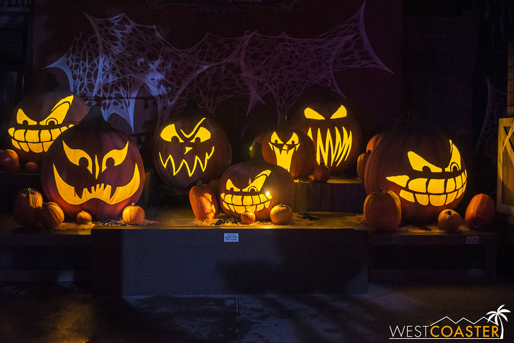 This jack-o-lantern display can be found at the stage in Calico Park.