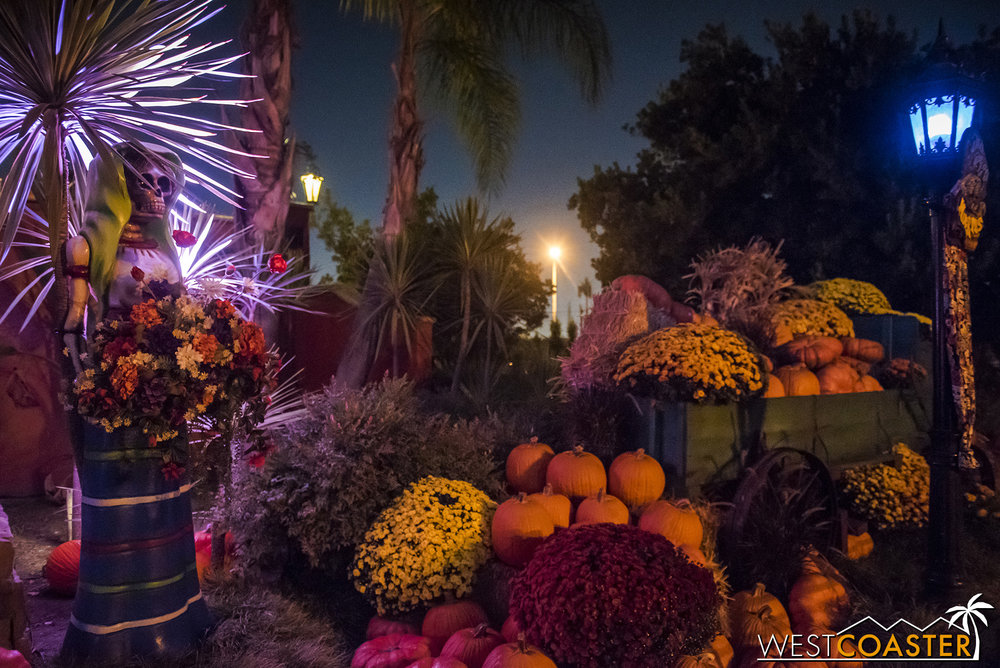 Pumpkins and sugar skulls provide a touch of theming in Fiesta Village.