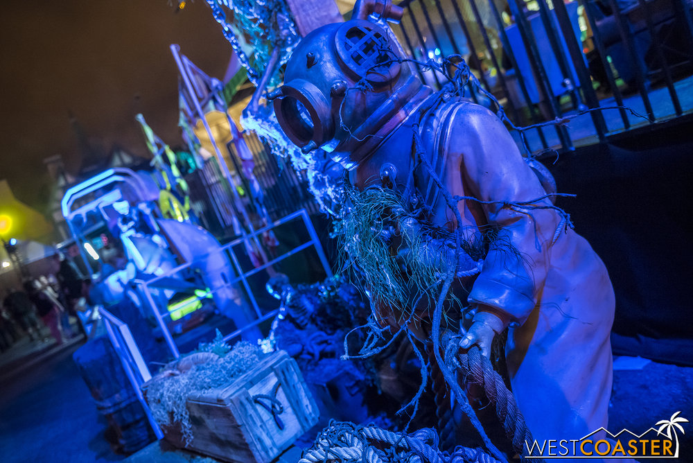 Theming at Dark Harbor is largely theatrical lighting and set props like this.