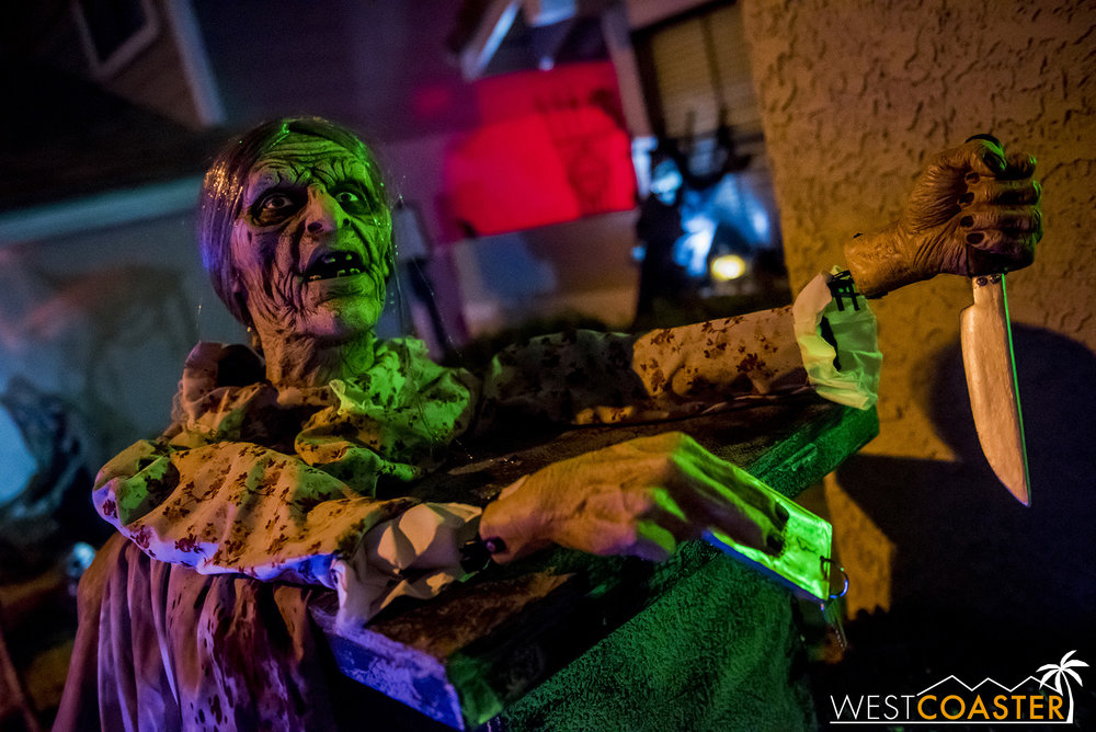 Stabby zombie granny is one of many elaborate figures found around Shiver Haunt.