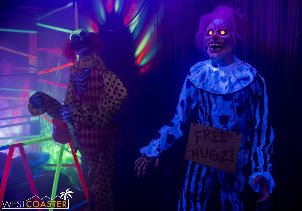 Free hugs from the scary clown! What could go wrong?