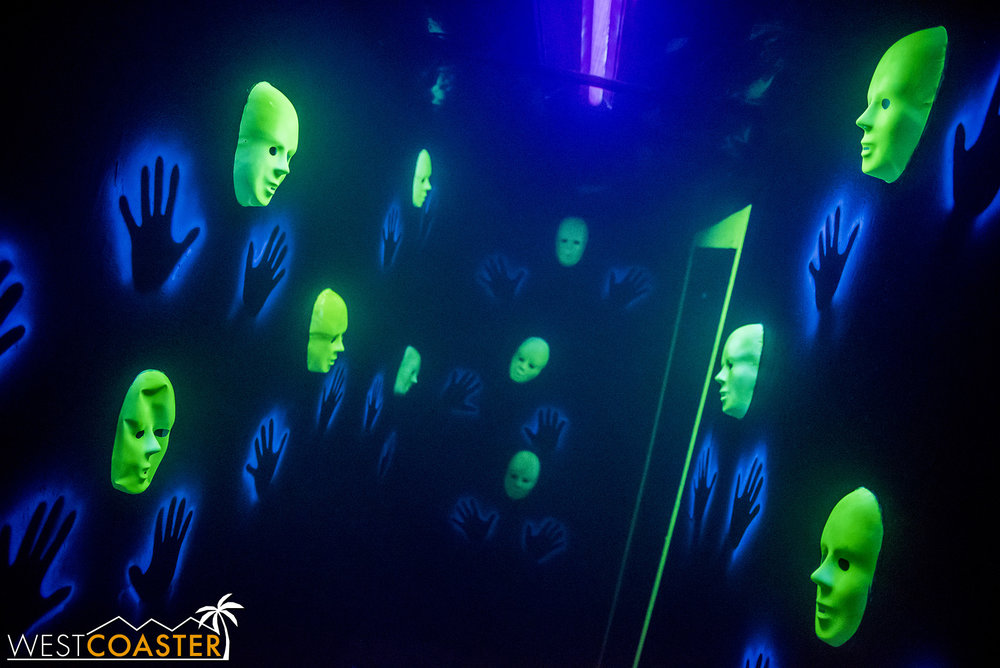 This hall of faceless masks was very well executed at Club Fear.