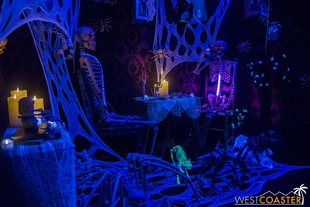 In the garage, a skeleton scene is full of whimsy and detail.