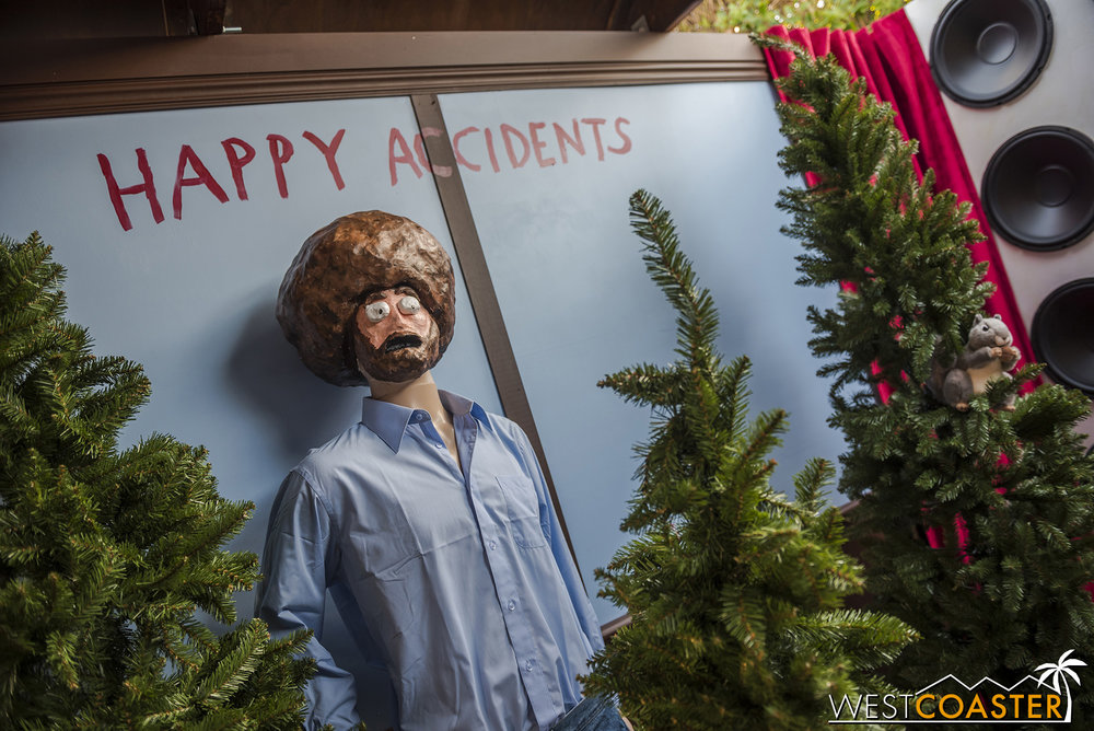 Even Bob Ross made an appearance at Big Adventure, content among his shrubbery.