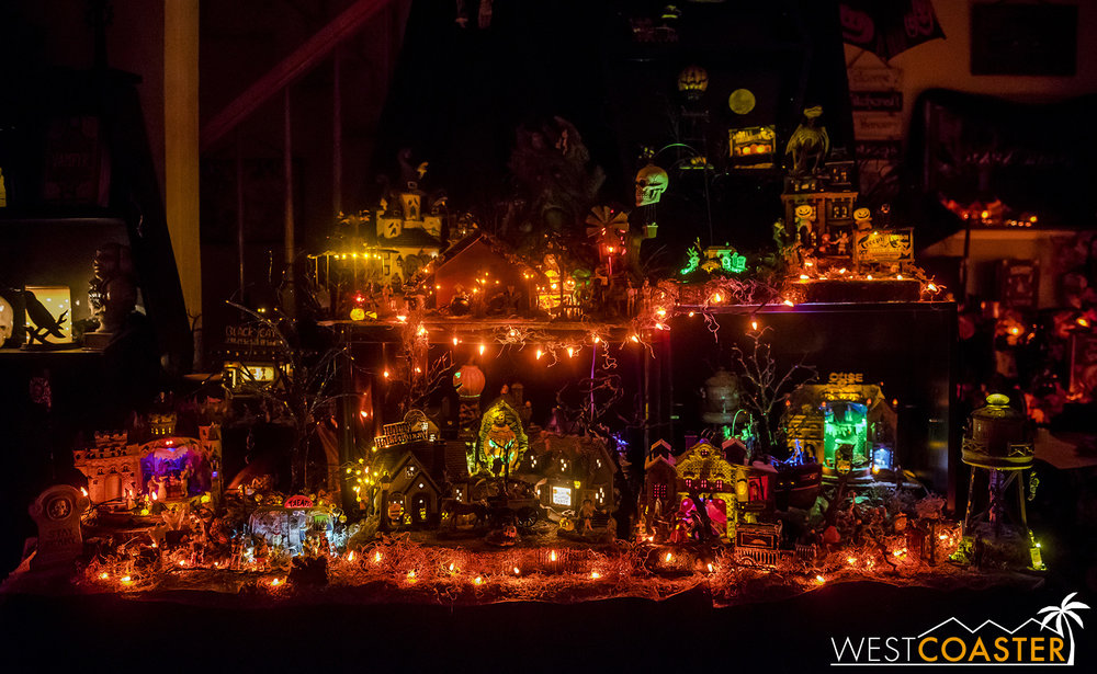 A miniature Halloween model village inside the O'Brien house.