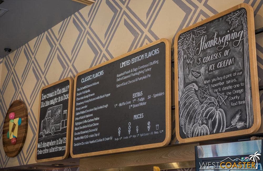 The menu…
