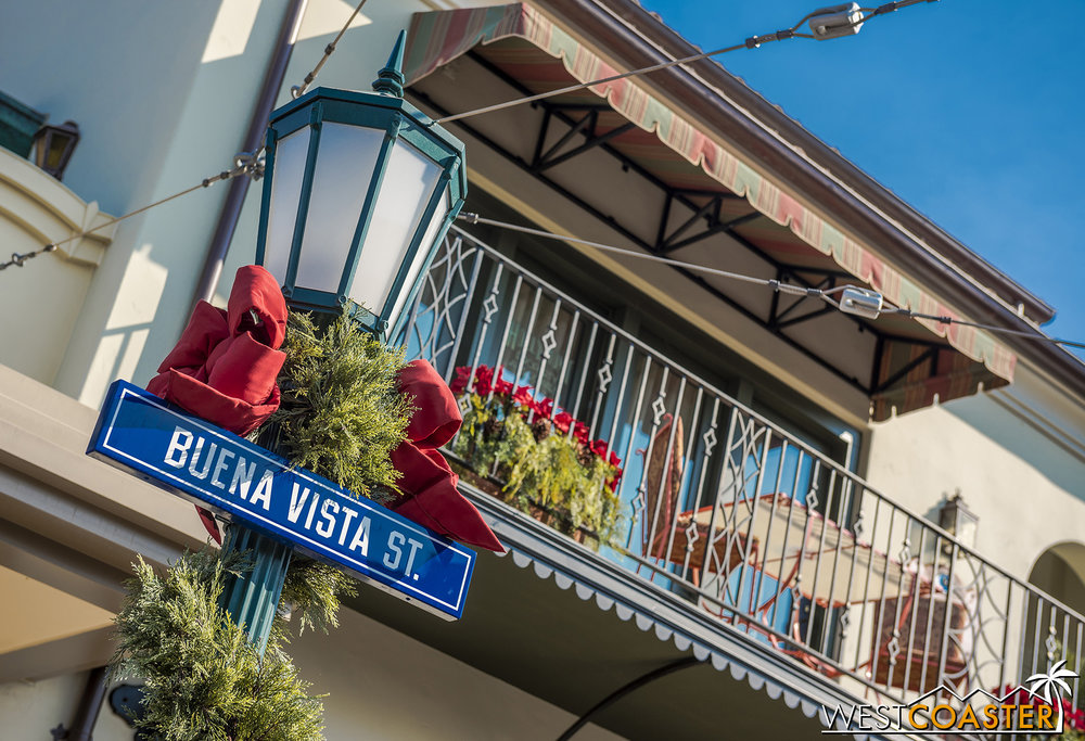 Similar to Main Street, U.S.A., Buena Vista Street takes a classic approach to Christmas.