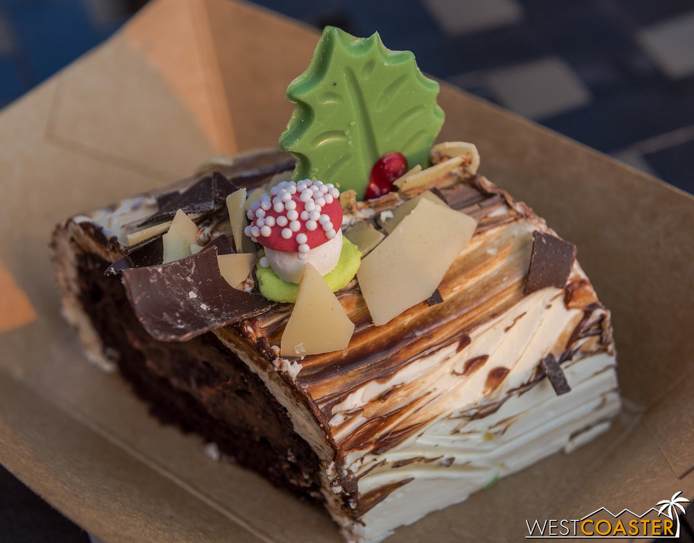"Of course, you gotta have the Yule Log—available at the ""A Twist on Tradition"" booth."