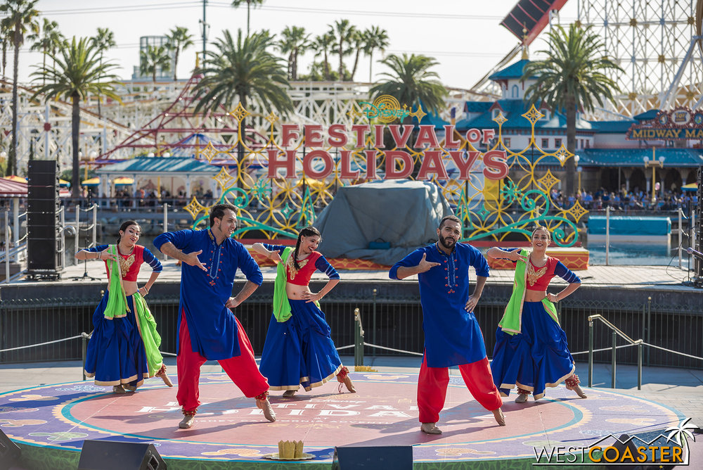 The Blue13 Dance Troupe celebrates Diwali at California Adventure.