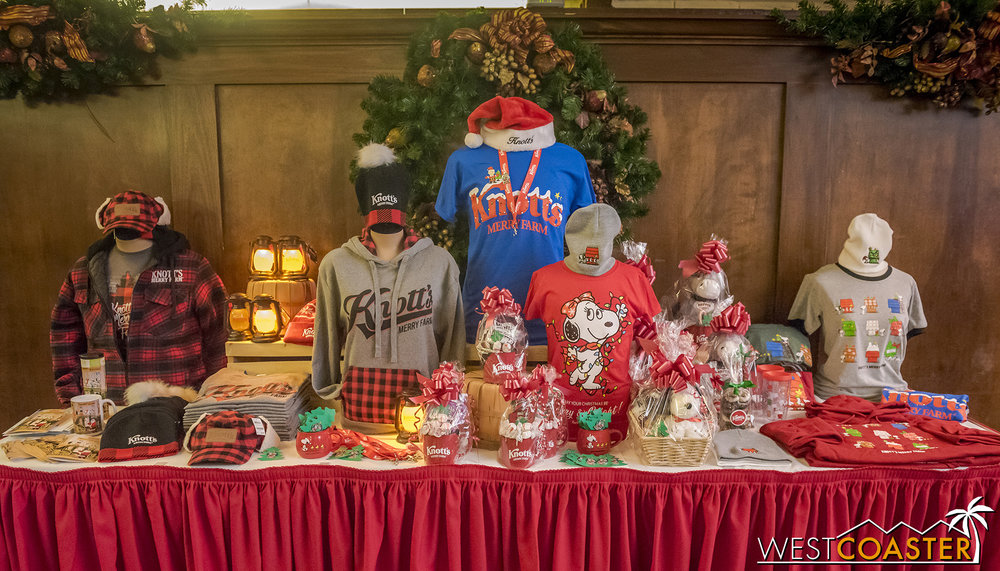 A spread of the merchandise being offered at Knott's Merry Farm this year.