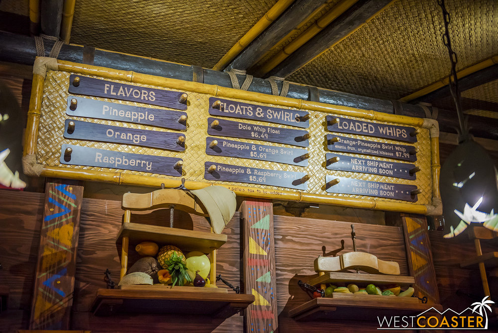 A look at the menu reveals new Dole Whip flavors!