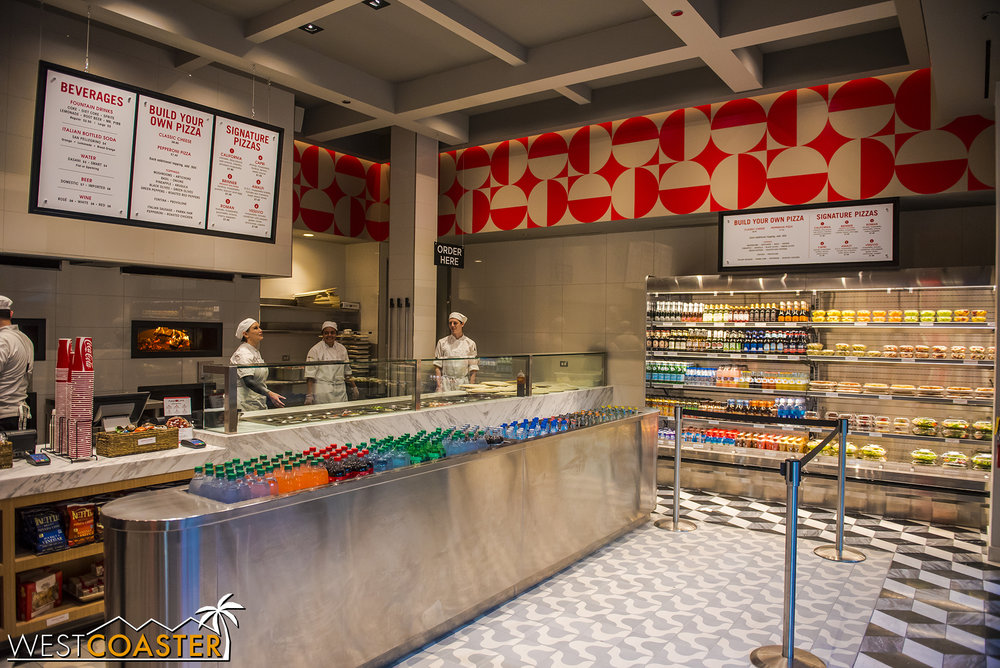"Inside, you can find a fast food ""build your own pizza"" style diner, similar to Blaze Pizza and similar establishments."