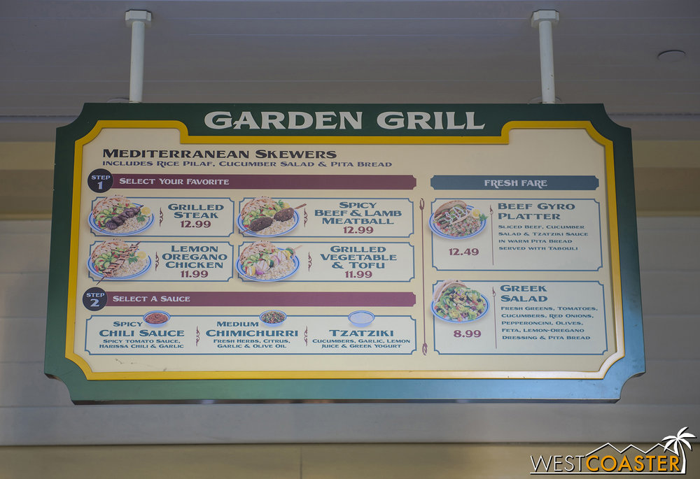Feast your eyes on a rare sight… the original and normal Garden Grill menu!  I was shocked to see this last week, but it turned out to be a tease, because Garden Grill wasn't even open on Friday, and it stayed closed this past week.  A cast member told me that was what they'd be serving for the Food & Wine Festival, because the Garden Grill has been serving up special seasonal dishes for so long that he he literally never seen this menu and thought it was another special menu.  Nope.  It's the regular menu, and it won't be what's served at Food & Wine either.  Thus, the streak continues…