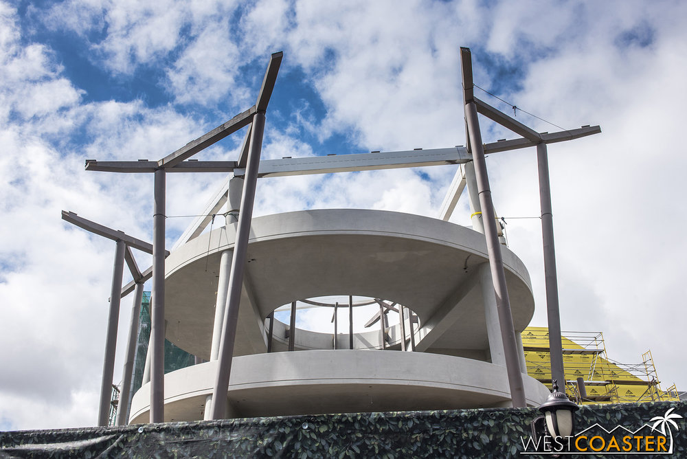 And different angles of the steel that's gone up.  The giant circular canopy will sit atop all of this.