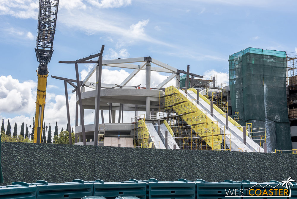 Here's the escalator promenade from ground level.