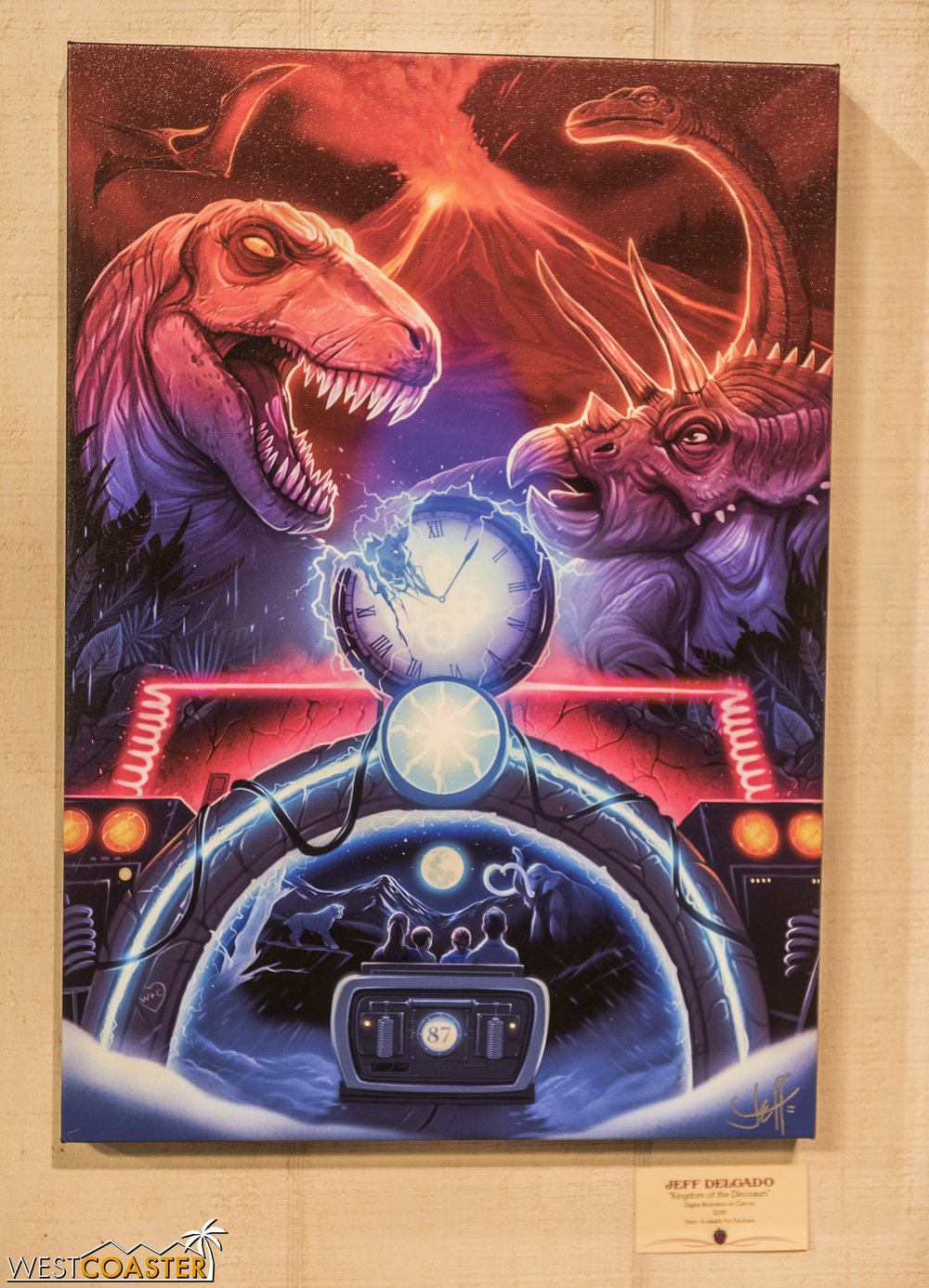 I love the almost 80's-esque vibe of this painting of the departed Kingdom of the Dinosaurs!