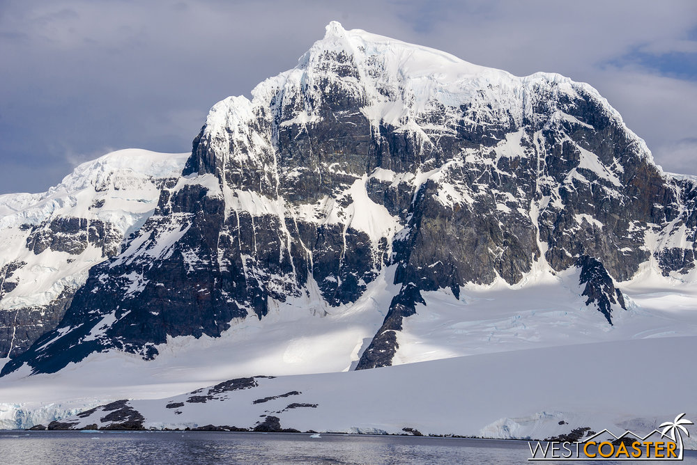 The mighty peaks of the Antarctic landscape are exceptional.