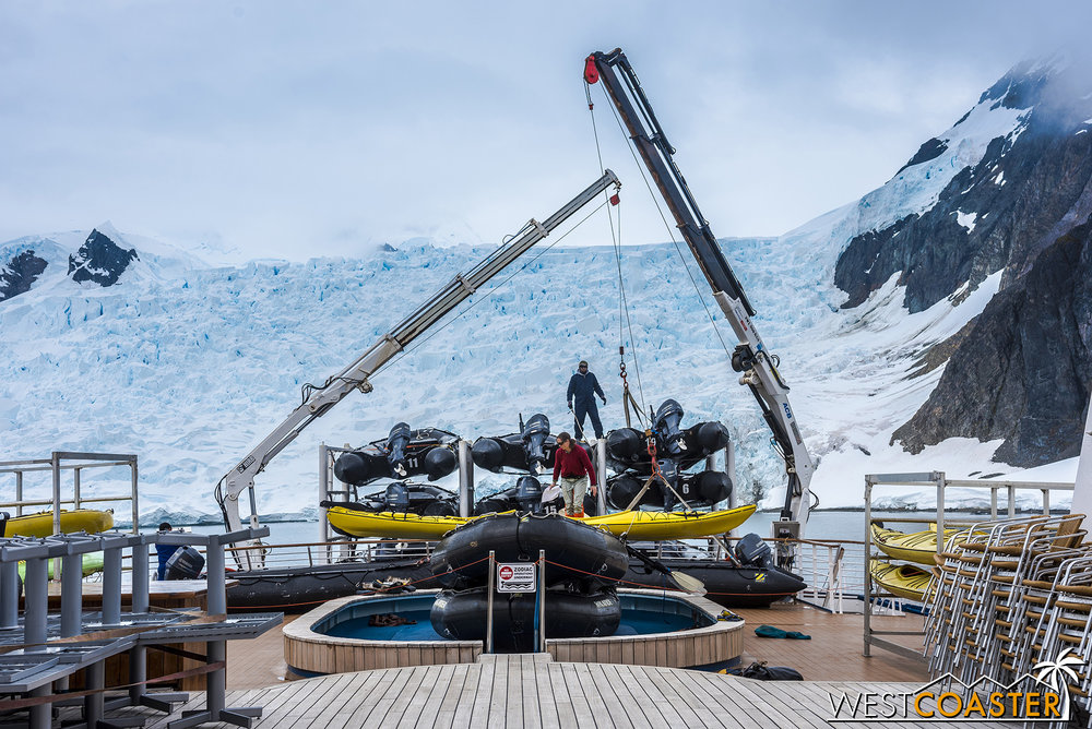 Loading Zodiac rafts at the aft.