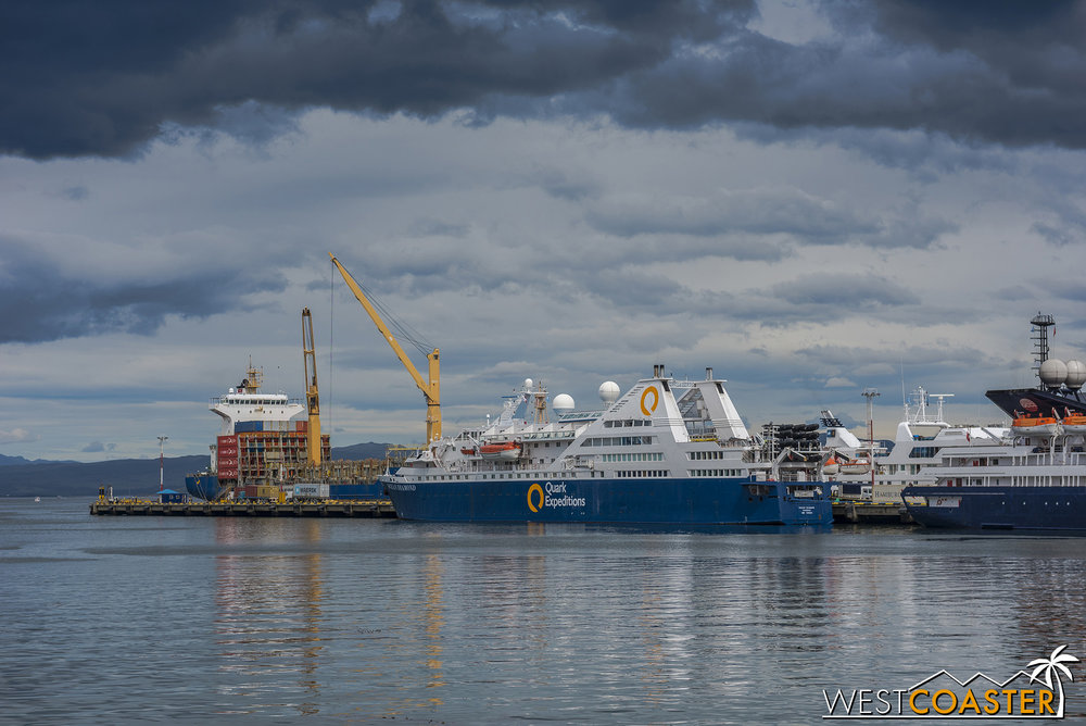 The  Ocean Diamond  docked at the main port in Ushuaia.