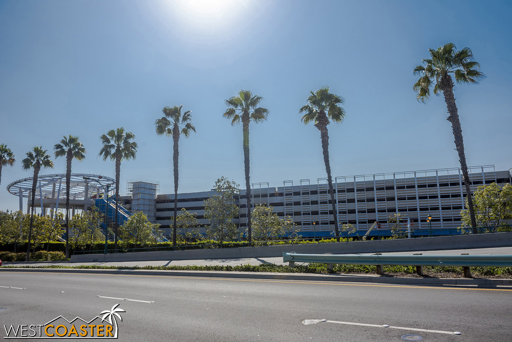 Here's a view we haven't really featured before… the parking structure expansion, as viewed from Disneyland Drive.