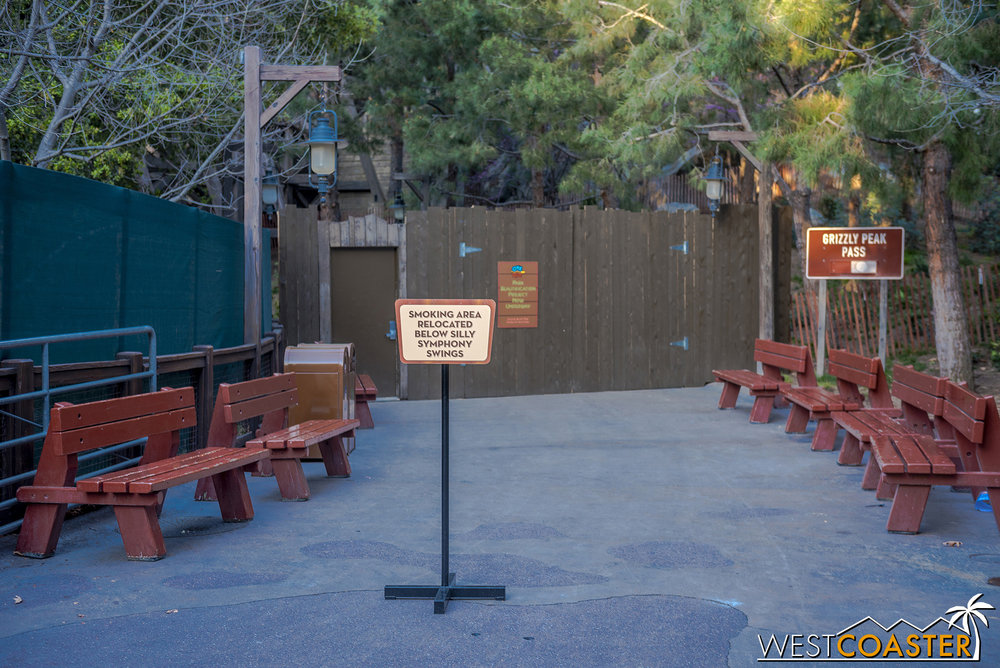 They've moved the smoking area away from the Golden Dreams food booth.