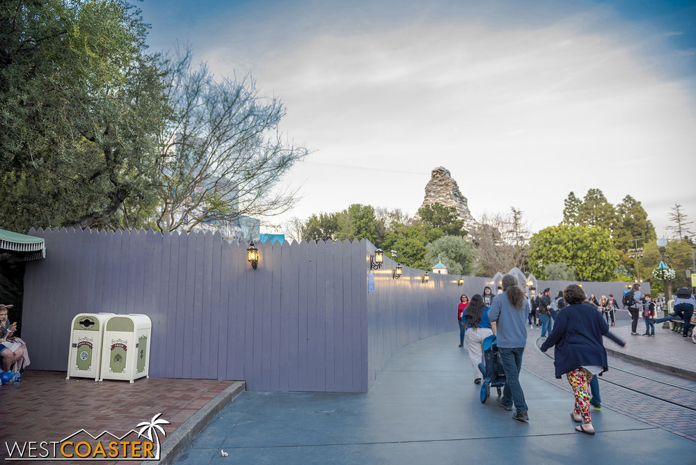 The work walls have been adjusted a bit to block the entrance into Fantasy Faire.  The lane from the Frontierland entrance must be used instead.