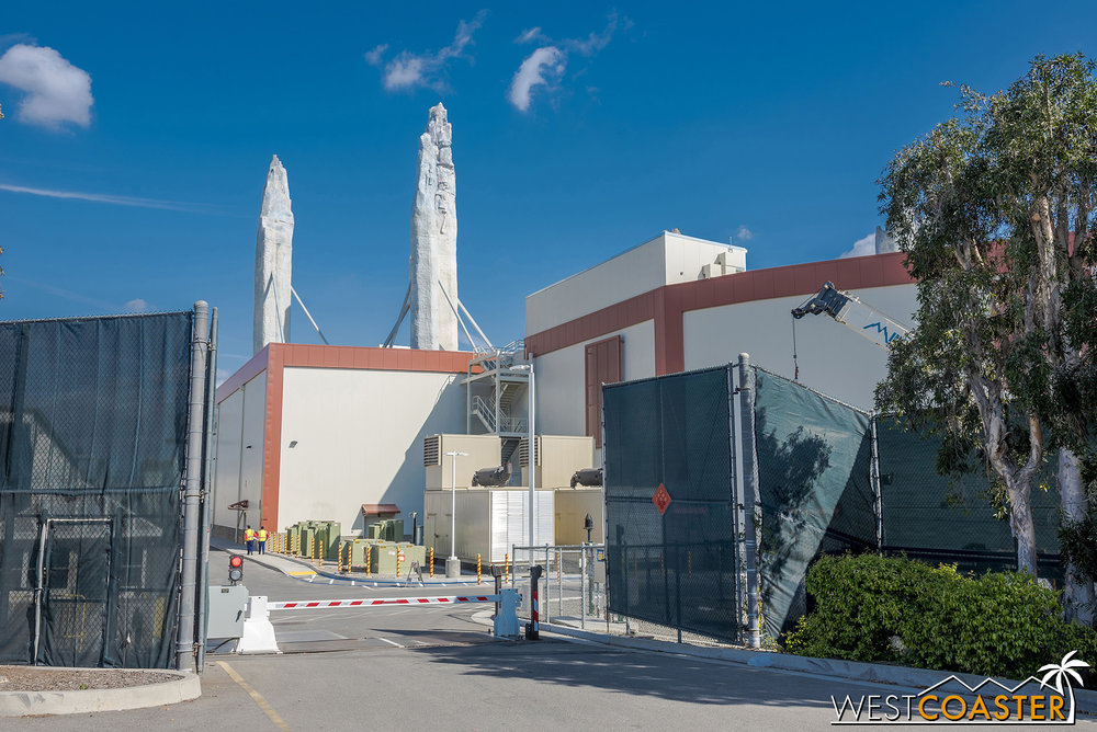 Millennium Falcon building from Disneyland Drive.