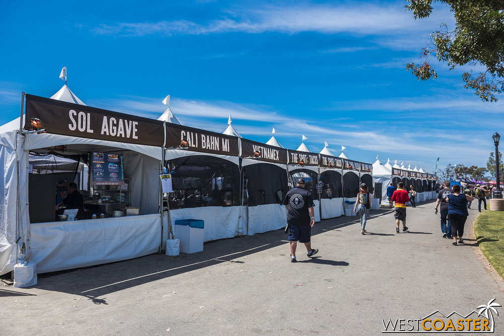 A double line of food vendors are the first amenity guests see when they enter.