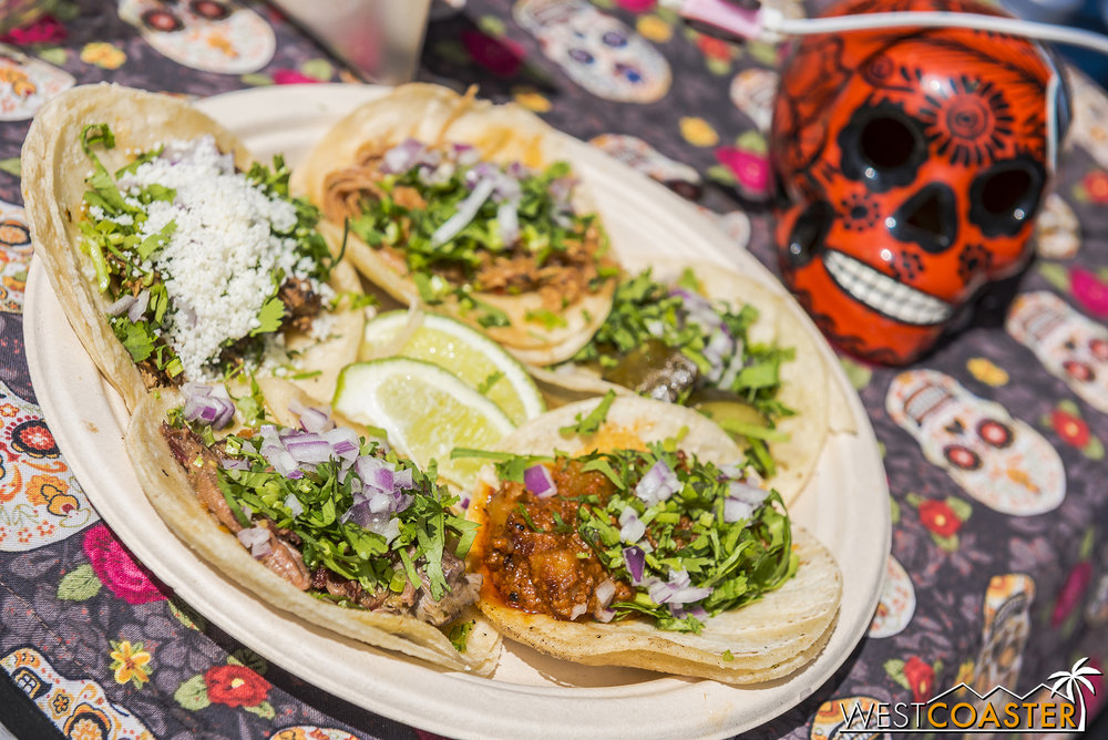 A variety of tacos.