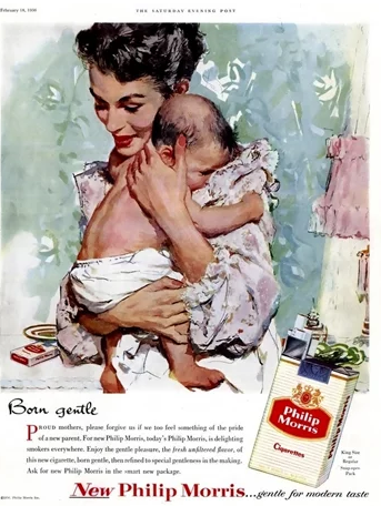 A cigarette ad targeting mothers and pregnant women.
