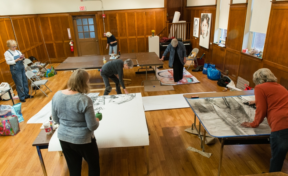 Eight artists at the Menino Art Center in Hyde Park working on giant drawings on paper using any material besides paint. A great all-day event featuring JPAA Members Gail Bos,  Terry Boutelle ,  Mary McCusker ,  Mary Harman ,  Mardi Reed , and  Ginny Zanger .