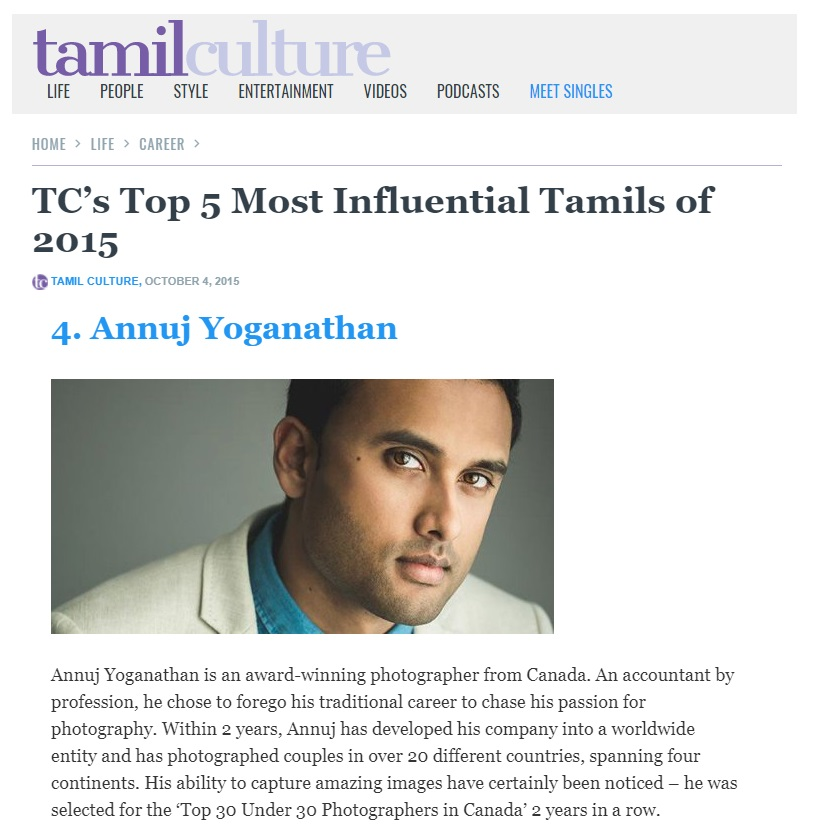 TamilCulture - TC's Top 5 Most Influential Tamils of 2015