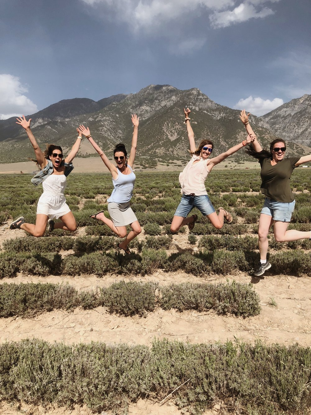 Some of our sweet team in Mona, Utah, leaping in the lavender fields…it smelled AMAZING!