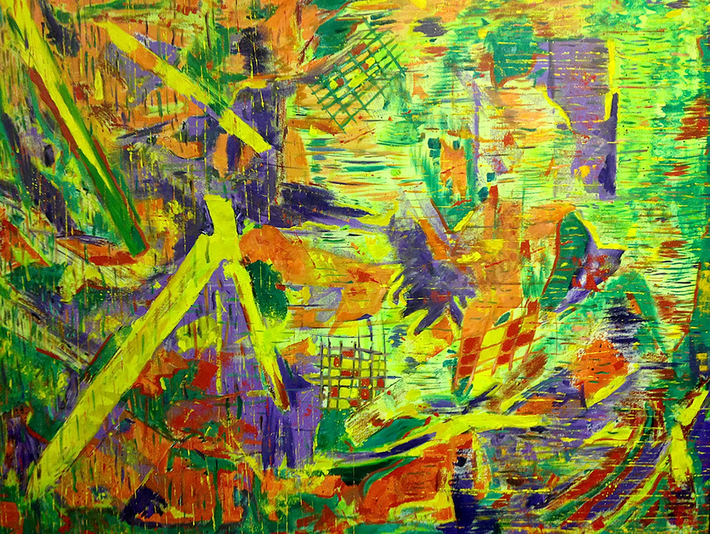 The Grids, 2015. Oil and acrylic on canvas, 36 x 48 in / 91.4 x 121.9 cm