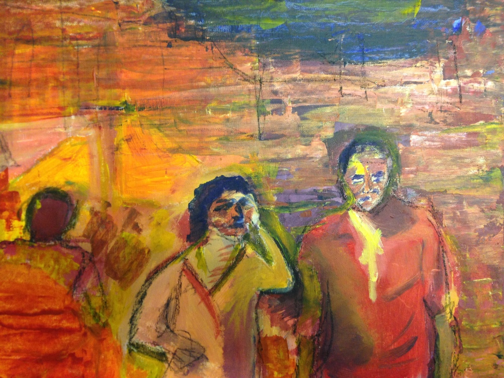 Pensive lovers, 2014. Oil and charcoal on canvas, 13 x 16 in / 33 x 41 cm