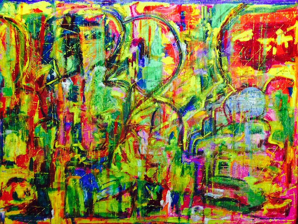 Crowded, 2016. Oil, acrylic and pigments on canvas, 36 x 48 in / 91.4 x 121.9 cm