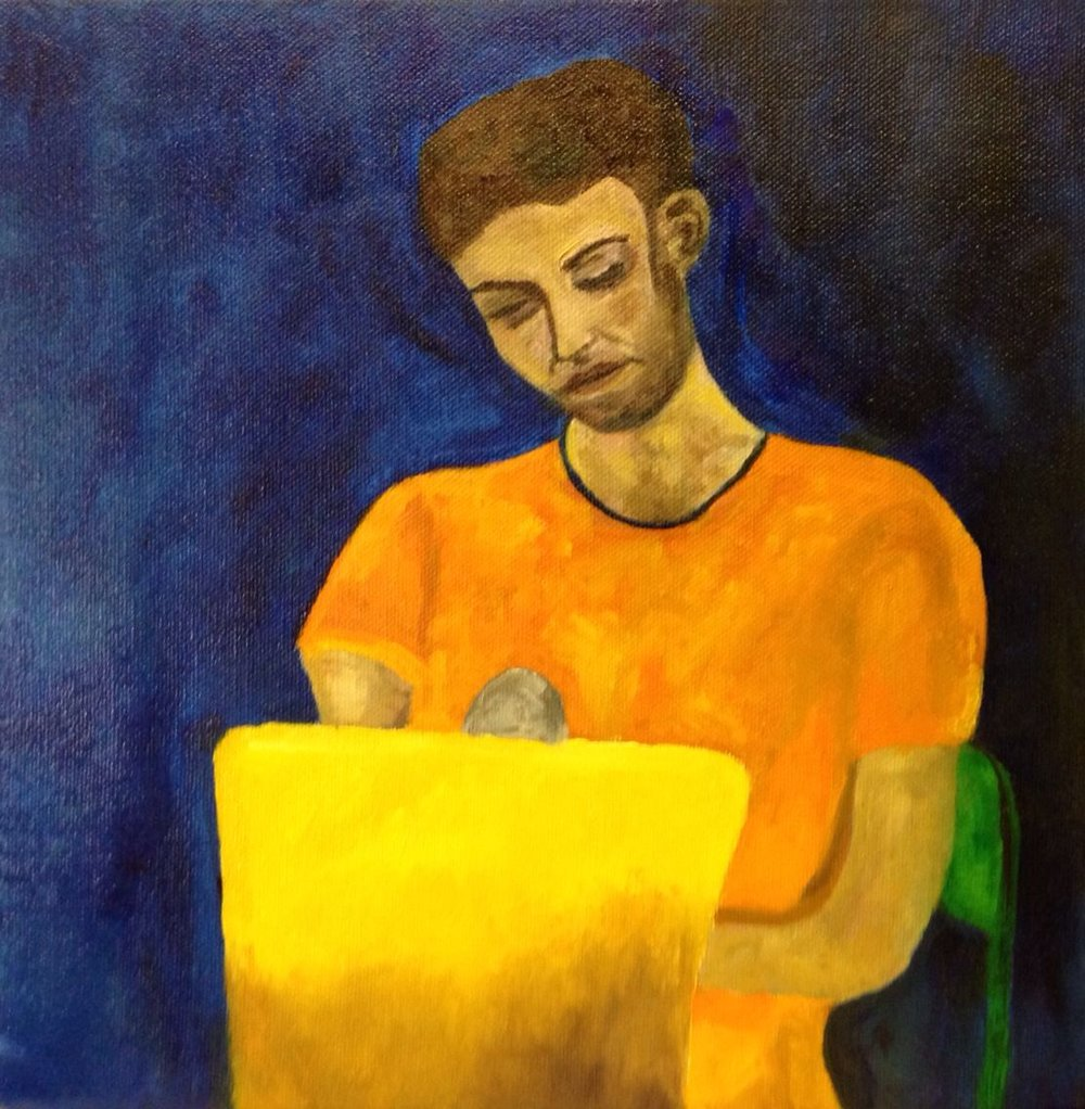 Portrait of a friend in my studio, 2016. Oil on canvas