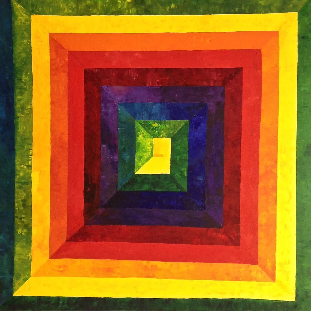 Rainbow Spiral II, 2016. Oil on canvas, 36 x 36 in / 91.4 x 91.4 cm