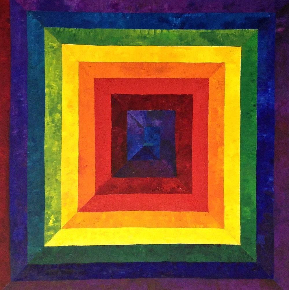 Rainbow Spiral III, 2016. Oil on canvas, 36 x 36 in / 91.4 x 91.4 cm
