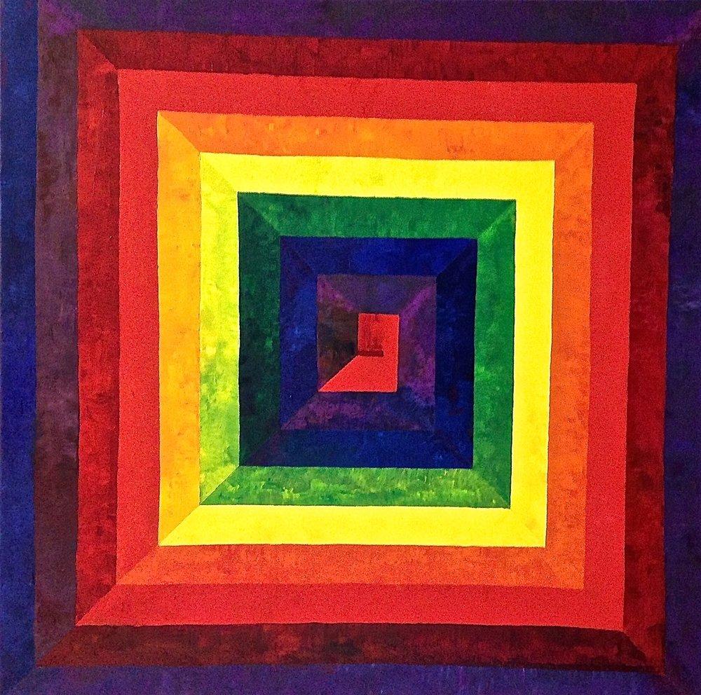 Rainbow Spiral IV, 2016. Oil on canvas, 36 x 36 in / 91.4 x 91.4 cm