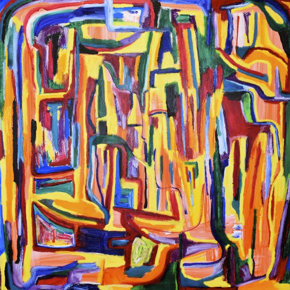 Hidden, 2017.  Oil and acrylic on canvas, 36 x 36 in / 91.4 x 91.4 cm