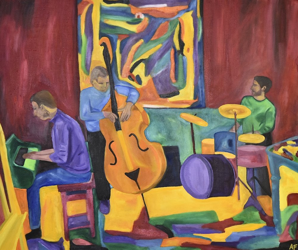 Résonances, Vortex Jazz Club, 14th November 2017. Oil on wood, 2018. 21 x 25 in