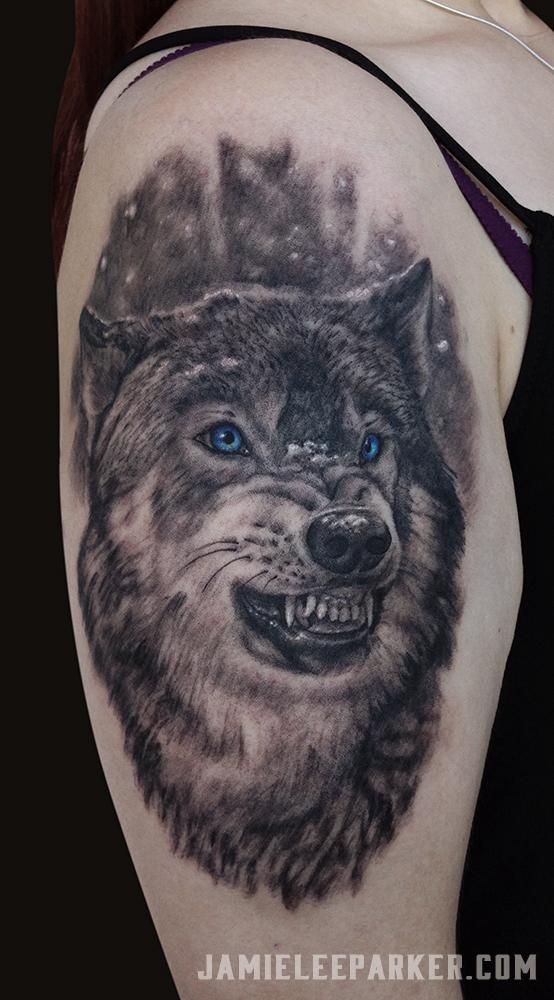 Blue Eyed Wolf Portrait
