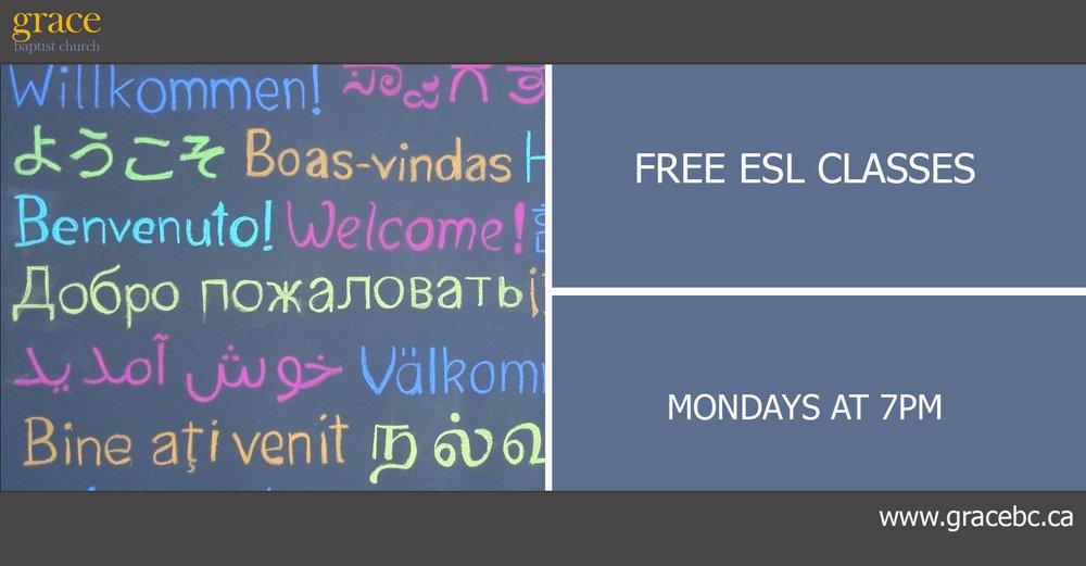 ESL: Free English classes start October 17, 2016 at 7 pm.