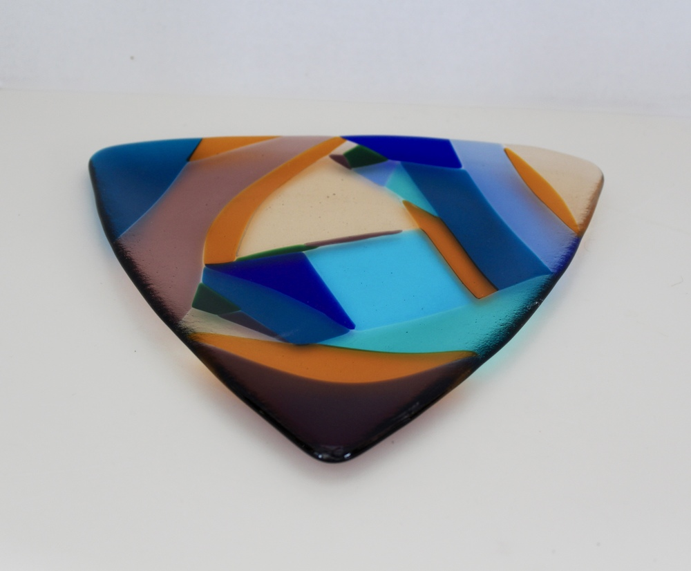 Fused Glass triangular dish made from scraps at glass class at the Banana Factory in Bethlehem.