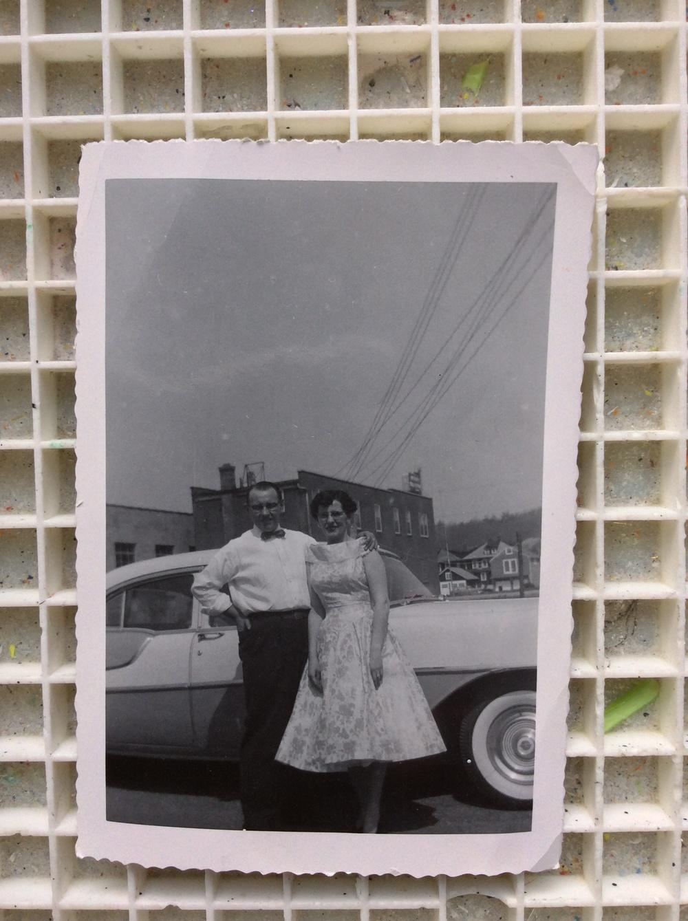 In the alley behind the 600 block of Lehigh Avenue, Palmerton ,Pennsylvania. My parents, Gloria and John Beta.