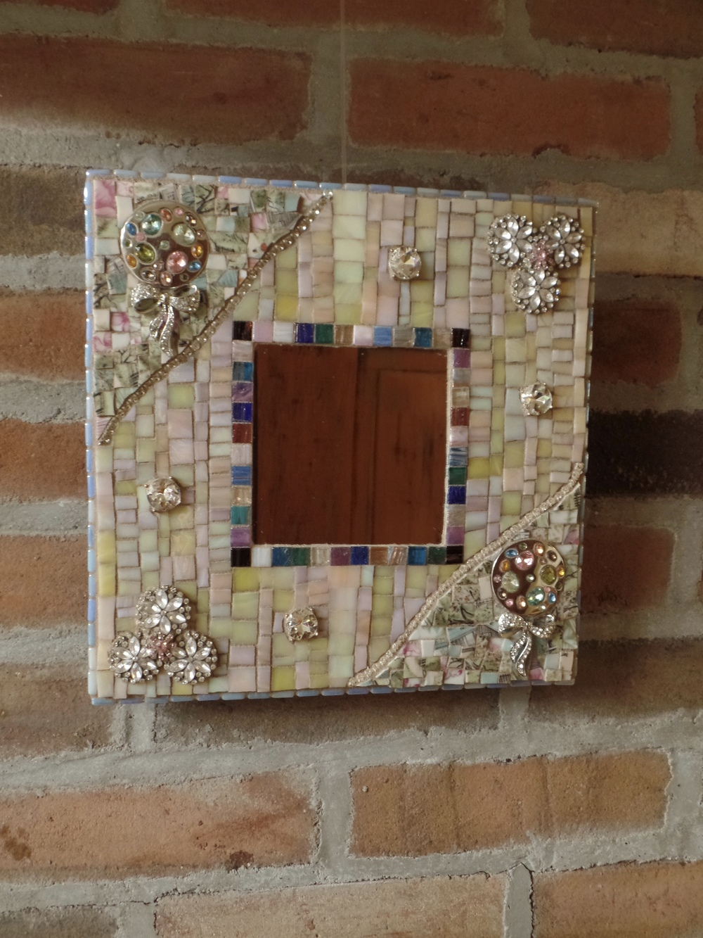 "Cottage Chic mosaic mirror with stained glass and jewelry. 10"" square"