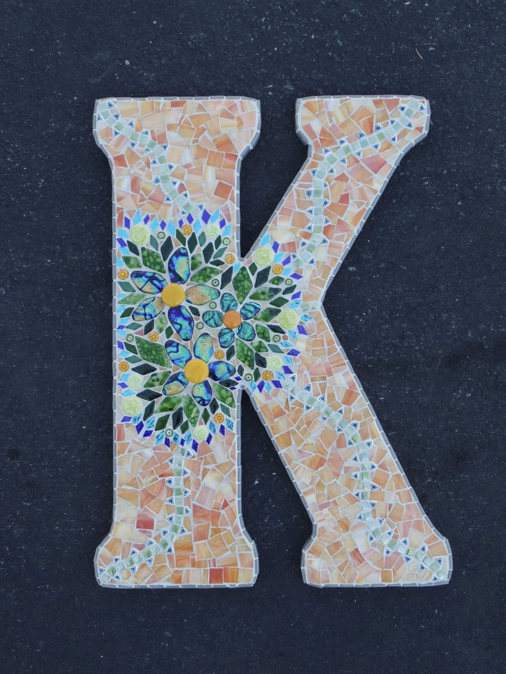 K is for Katie - Fused glass dichroic flowers are the centerpiece to this design.