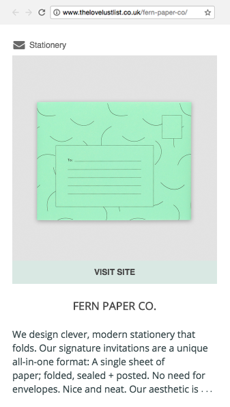 Fern Paper Co. Love Lust Listing