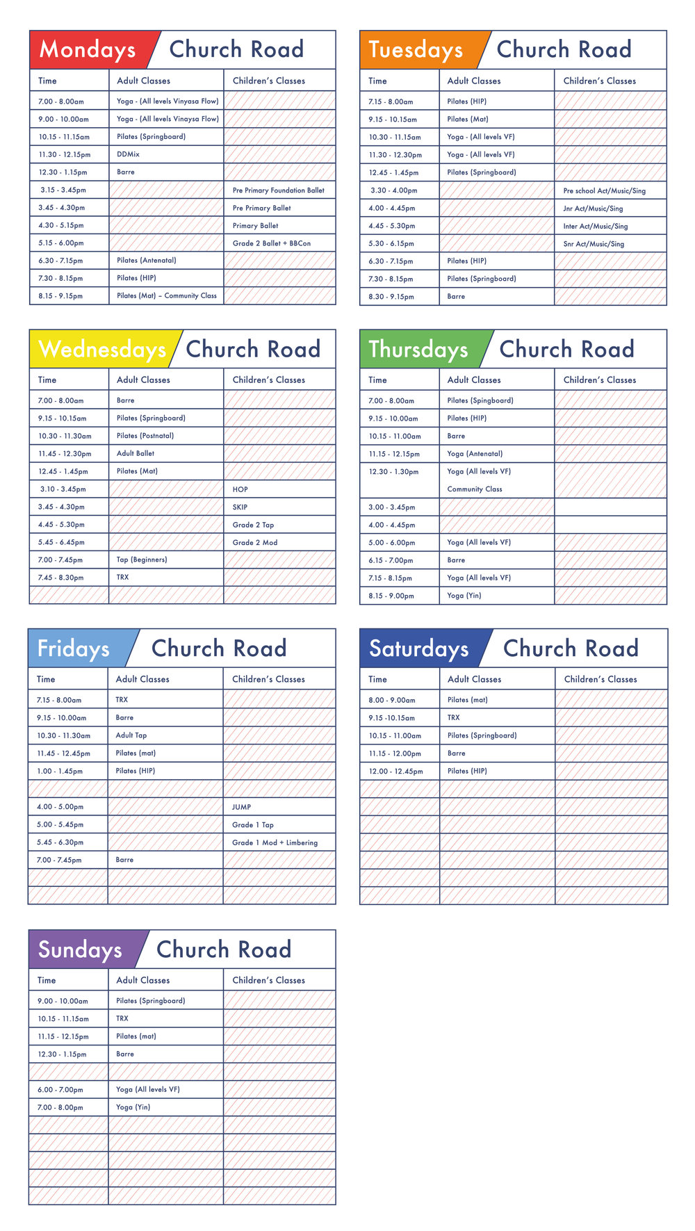 Clifford Studios Church Road Timetable